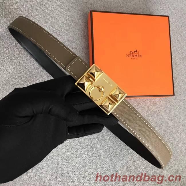 Hermes Collier de Chien belt buckle & Reversible leather strap 24 mm H0521 grey