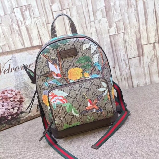 Gucci GG Supreme backpack Flower and bird 427042-1 Brown
