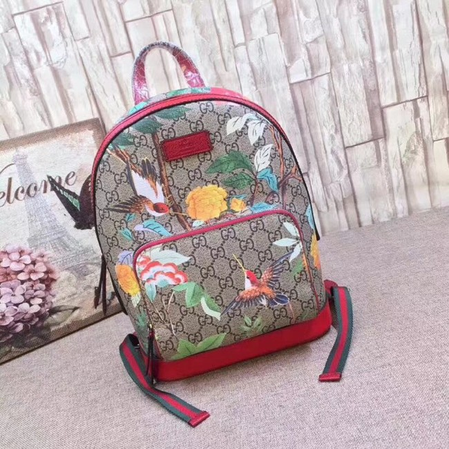 Gucci GG Supreme backpack Flower and bird 427042 red