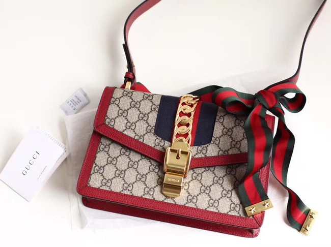 Gucci GG Supreme canvas Sylvie small shoulder bag 421882 Red