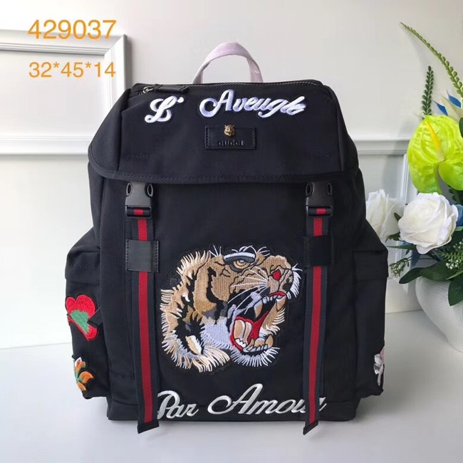 Gucci Backpack with embroidery 429037 black
