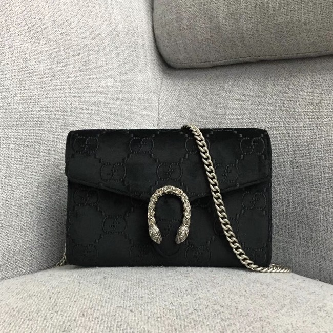 Gucci Dionysus GG velvet mini chain wallet 401231 black