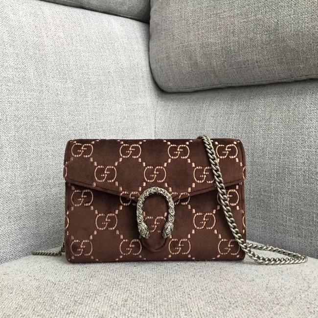 Gucci Dionysus GG velvet mini chain wallet 401231 brown