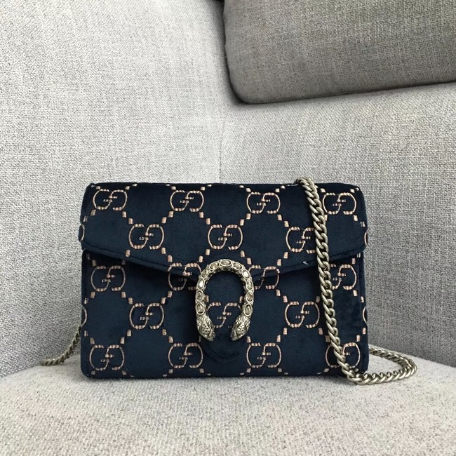 Gucci Dionysus GG velvet mini chain wallet 401231 dark blue
