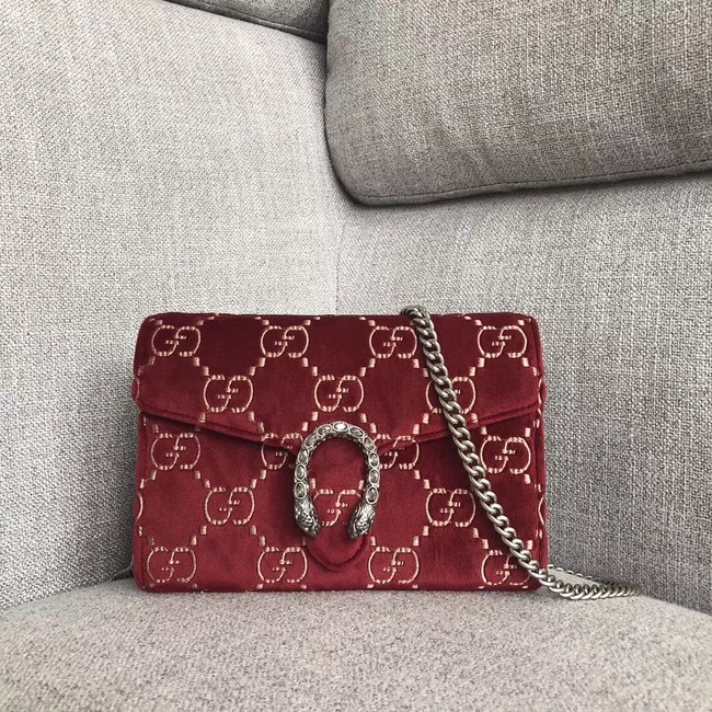 Gucci Dionysus GG velvet mini chain wallet 401231 red