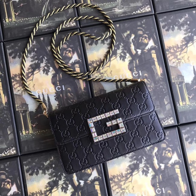 Gucci leather Shoulder bag with Square G 544242 black