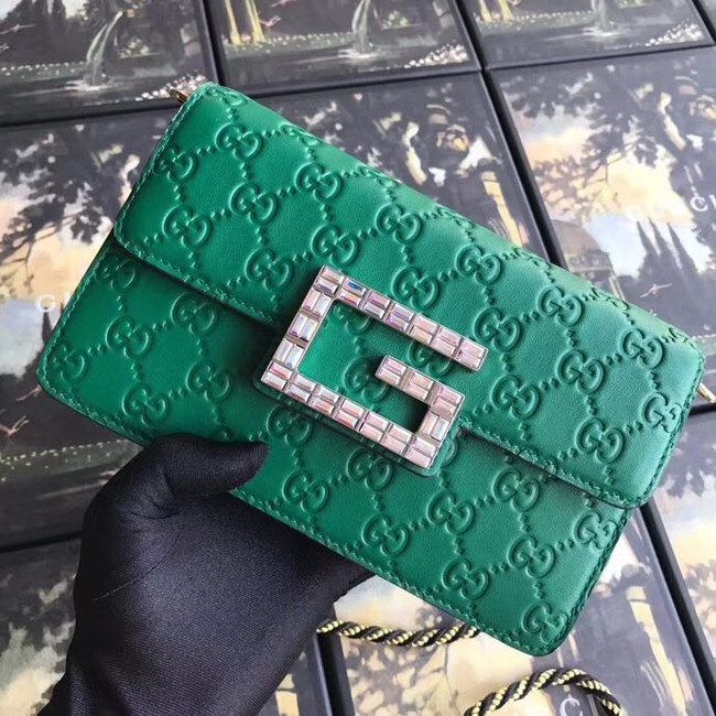 Gucci leather Shoulder bag with Square G 544242 green