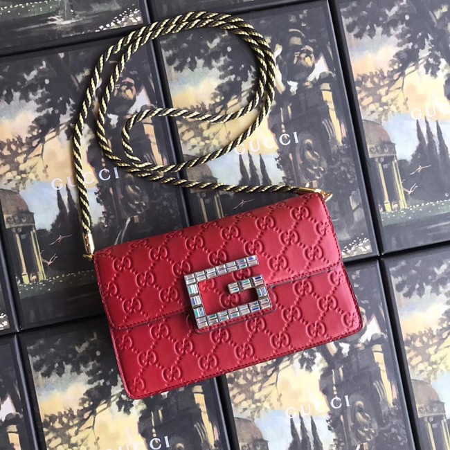Gucci leather Shoulder bag with Square G 544242 red