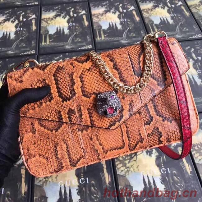 Gucci Medium double Snake skin shoulder bag 524822 orange