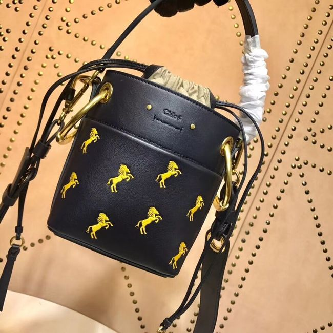 CHLOE Mini Roy leather bucket bag 3E128C black
