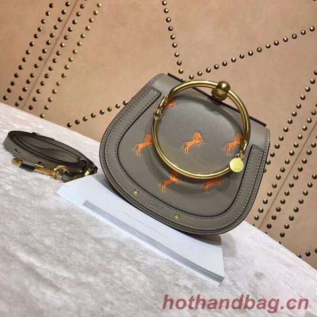 CHLOE Small Nile leather Horse bracelet bag 3E1302 grey
