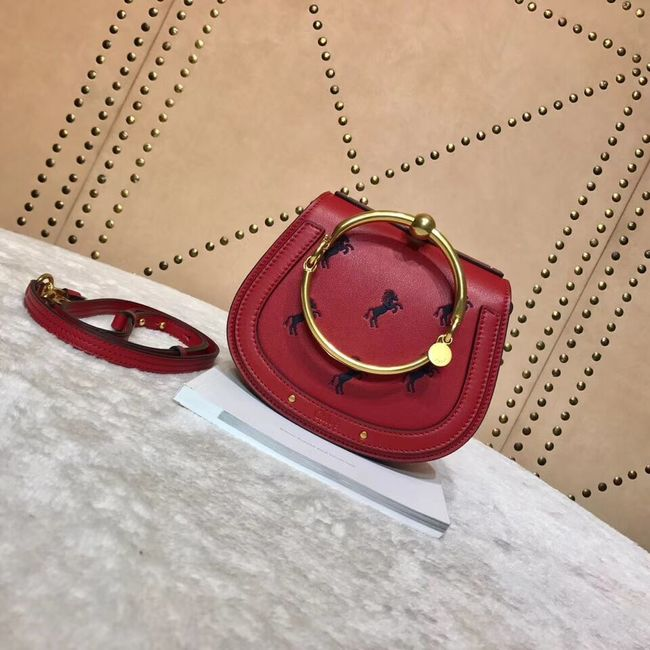CHLOE Small Nile leather Horse bracelet bag 3E1302 red