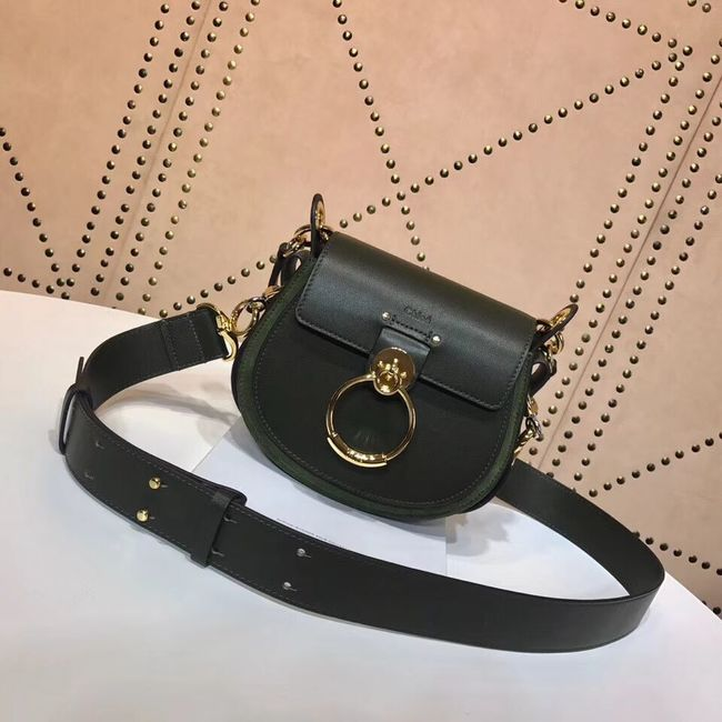 CHLOE Tess Small leather shoulder bag 3E153 Blackish green