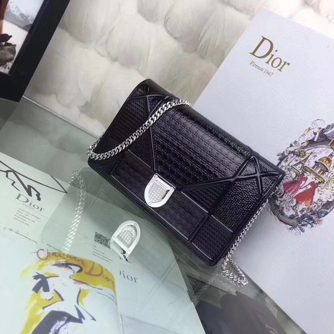 DIORAMA WALLET ON CHAIN CLUTCH METALLIC CALFSKIN WITH MICRO-CANNAGE MOTIF S0328 black