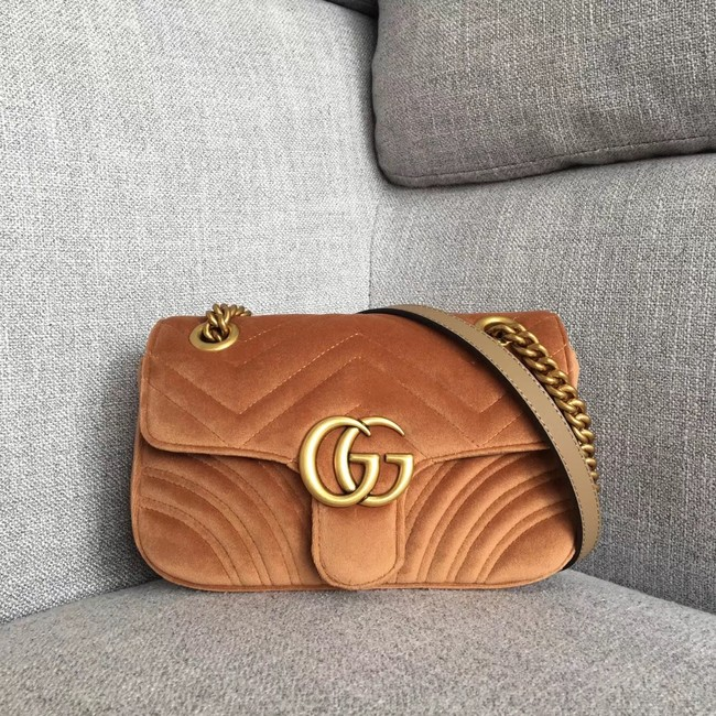 Gucci GG Marmont velvet mini bag 446744 brown