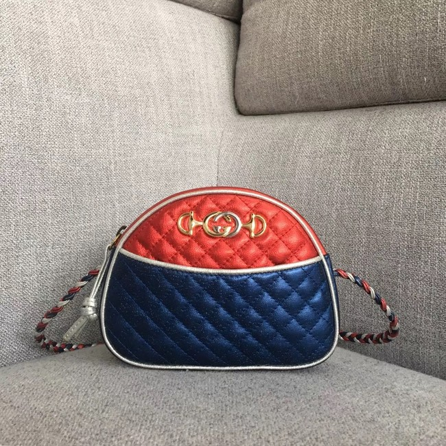 Gucci Laminated leather mini bag 534951 red&blue
