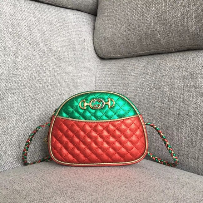 Gucci Laminated leather mini bag 534951 red&green