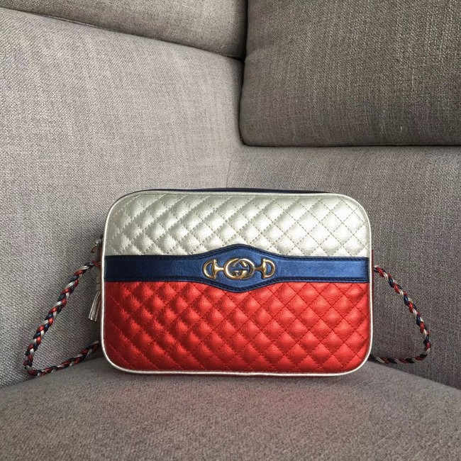 Gucci Laminated leather small shoulder bag 541061 red&silver