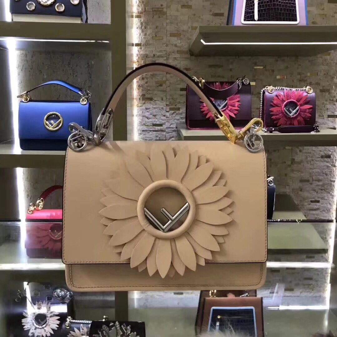 FENDI Kan I Leather Shoulder Bag B9288 Apricot