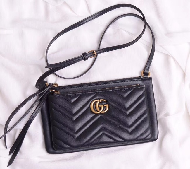 Gucci Laminated leather small shoulder bag 453878 black