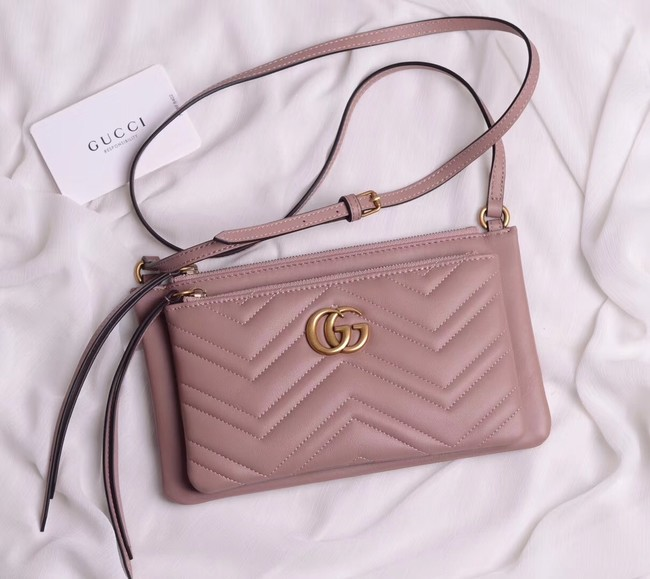 Gucci Laminated leather small shoulder bag 453878 pink