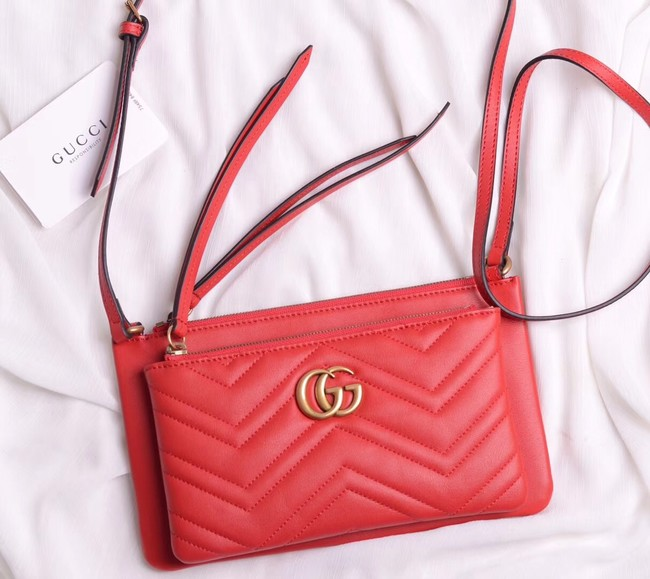 Gucci Laminated leather small shoulder bag 453878 red