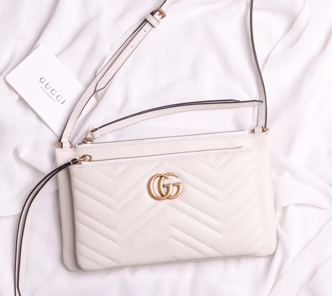 Gucci Laminated leather small shoulder bag 453878 white
