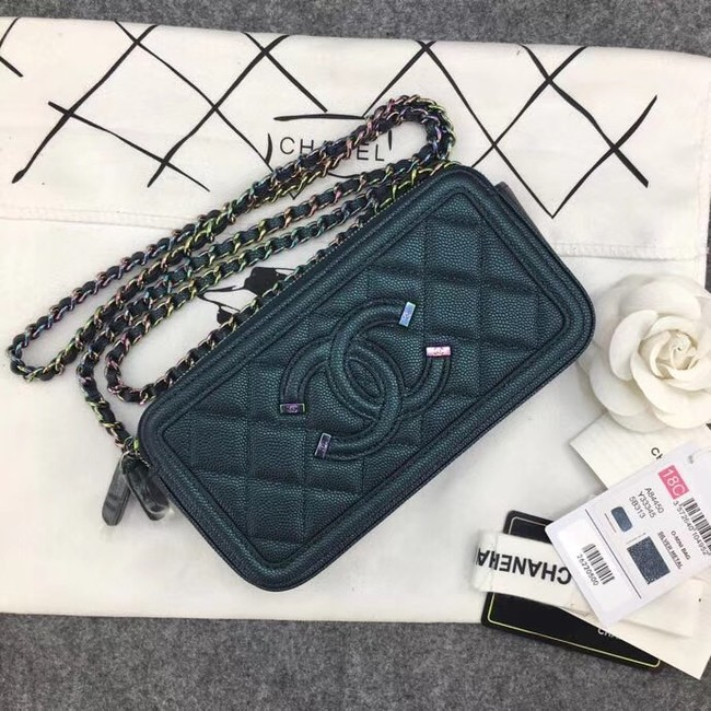 Chanel Classic Clutch with Chain Grained Calfskin & silver-Tone Metal A84450 green