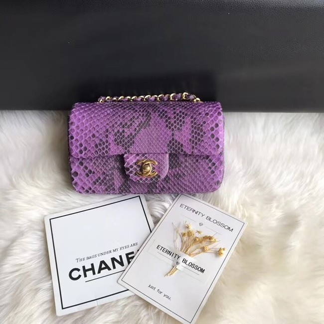 Chanel Mini Flap Bag Python & Gold-Tone Metal A69900 purple