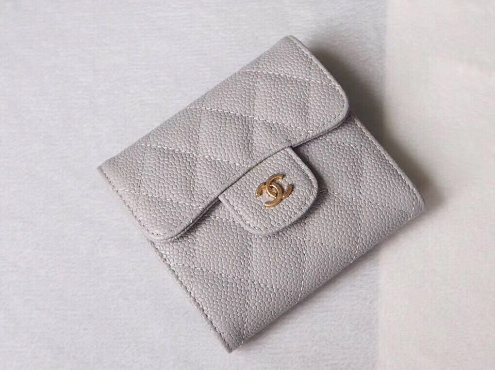 Chanel Wallet Calfskin Leather A49639 Gray