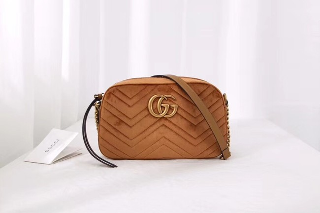 Gucci GG Marmont velvet small shoulder bag 447632 Taupe