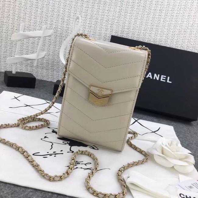 Chanel Original Clutch with Chain A81226 Calfskin & Gold-Tone Metal A81226 off-white