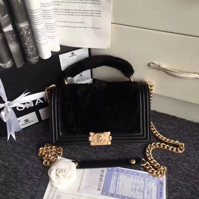 BOY CHANEL Flap Bag with Handle Orylag Calfskin & Gold-Tone Metal A94804 black