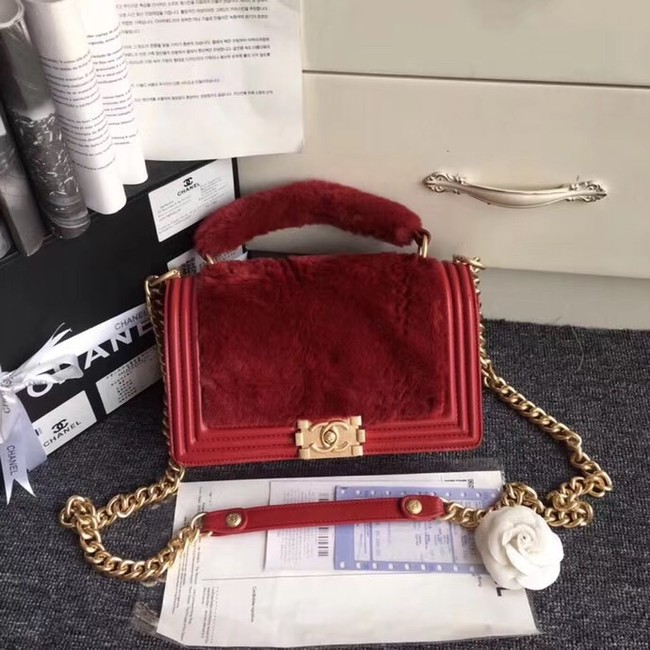 BOY CHANEL Flap Bag with Handle Orylag Calfskin & Gold-Tone Metal A94804 red