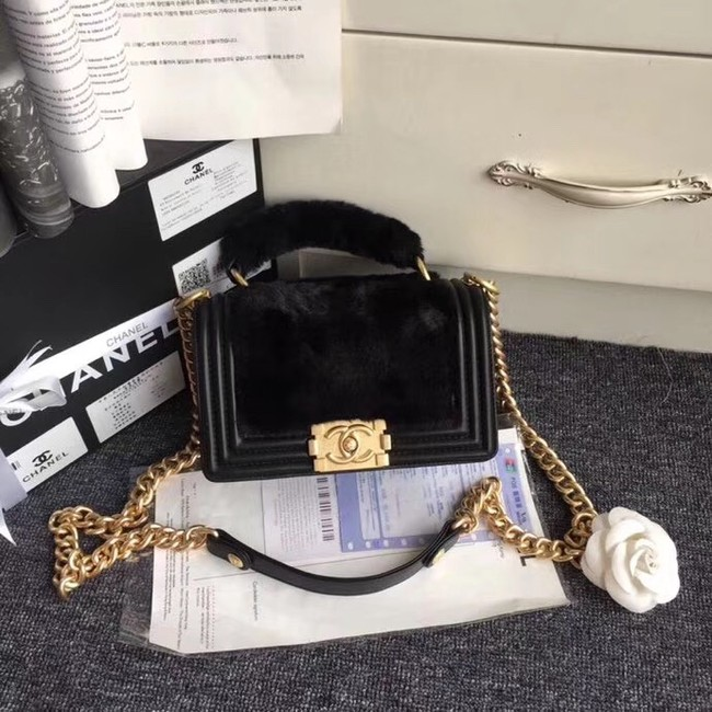 BOY CHANEL Flap Bag with Handle Orylag Calfskin & Gold-Tone Metal A94805 black
