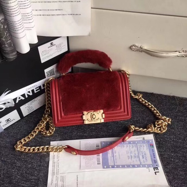 BOY CHANEL Flap Bag with Handle Orylag Calfskin & Gold-Tone Metal A94805 red