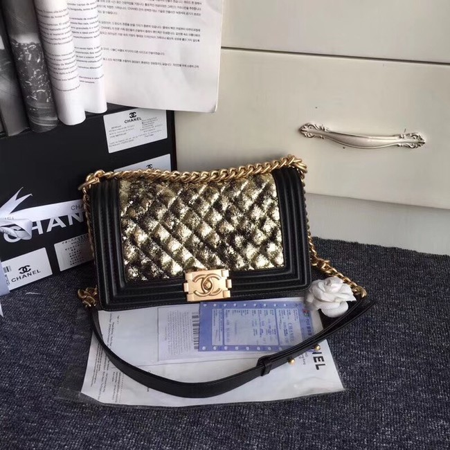 CHANEL Handbag Small BOY Original A67086 Gold-Tone Metal
