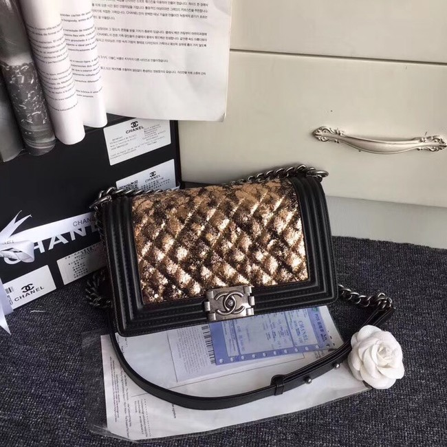 CHANEL Handbag Small BOY Original A67086 silver-Tone Metal