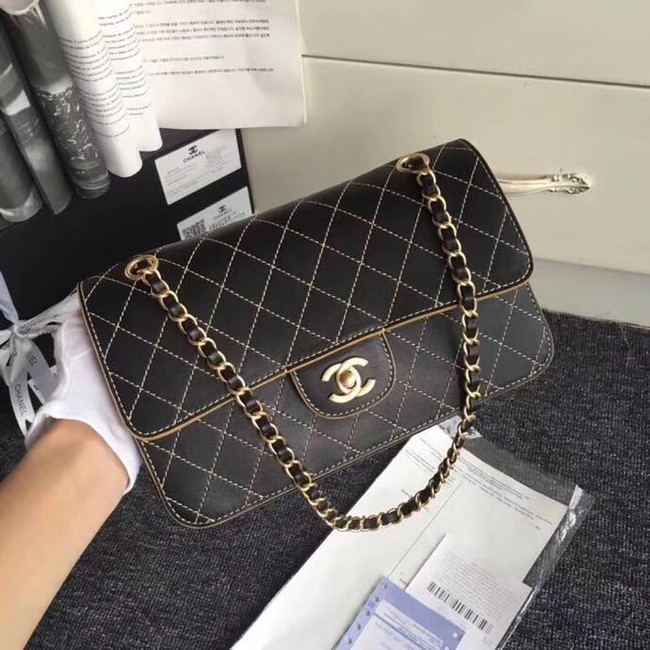 Chanel Flap Shoulder Bags Leather CF B1112 black gold chain