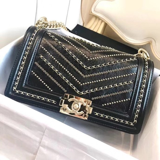 BOY CHANEL Handbag Crumpled Calfskin & Gold-Tone Metal A67086 black