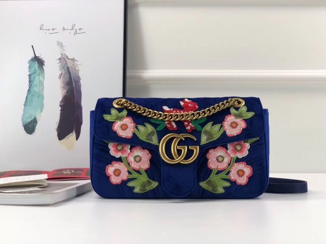 Gucci GG Marmont velvet small shoulder bag 443497 blue