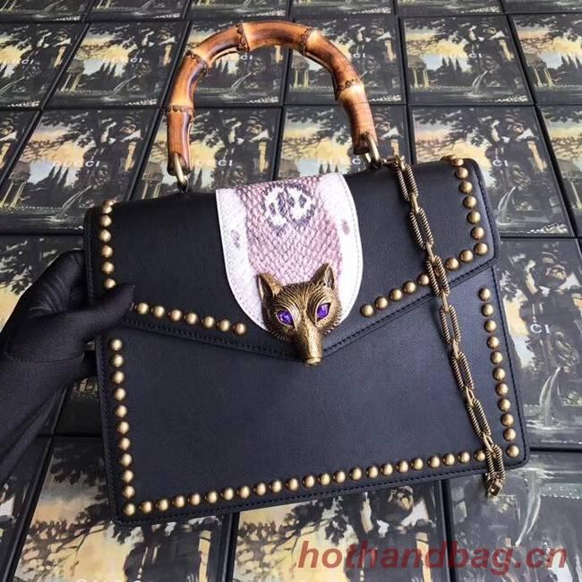 Gucci GG NOW medium top handle bag A466434 black