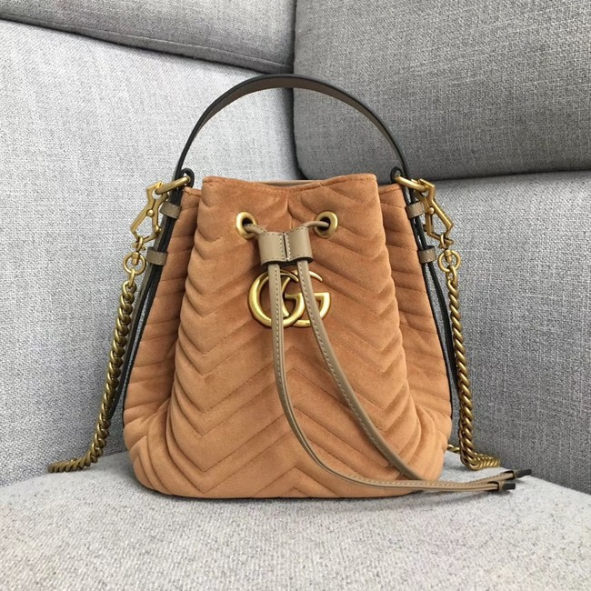Gucci GG Marmont quilted leather bucket bag 525081 Camel suede