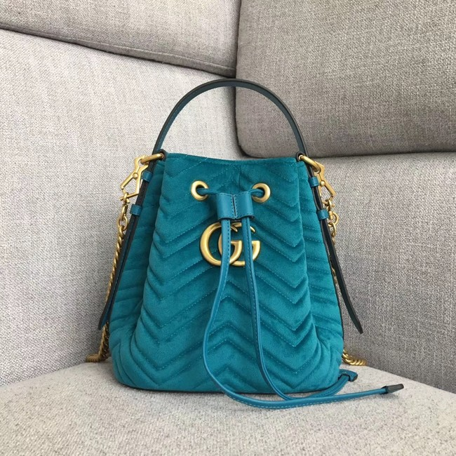 Gucci GG Marmont quilted leather bucket bag 525081 green suede