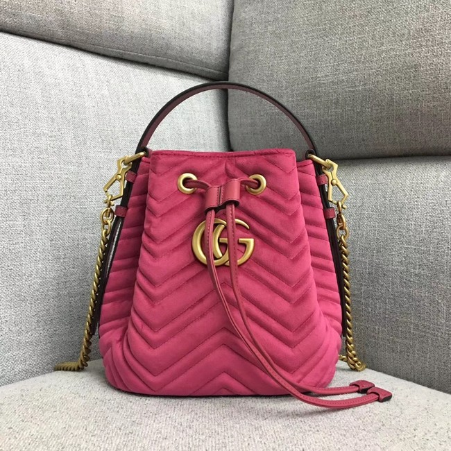 Gucci GG Marmont quilted leather bucket bag 525081 rose suede