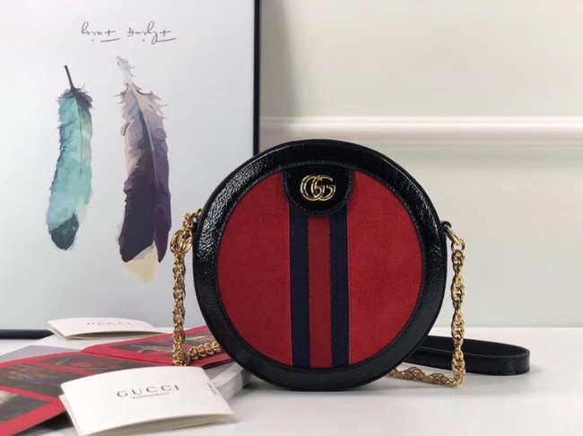 Gucci Ophidia mini round shoulder bag 550618 red suede