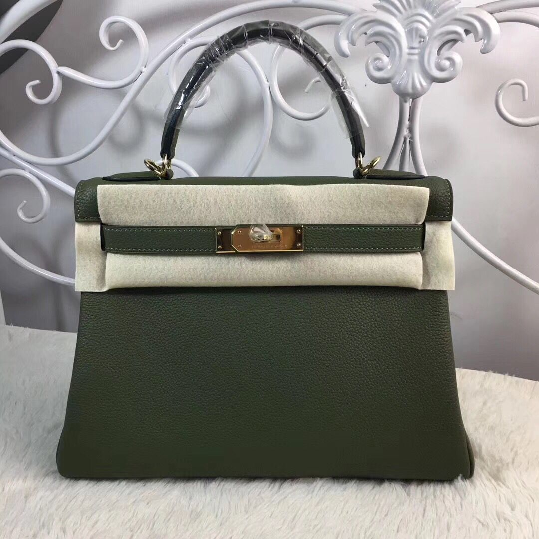 Hermes Birkin Tote Bag Original Togo Leather BK35 Deark Green