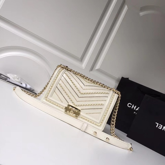 BOY CHANEL Handbag Crumpled Calfskin & Gold-Tone Metal A67086 white