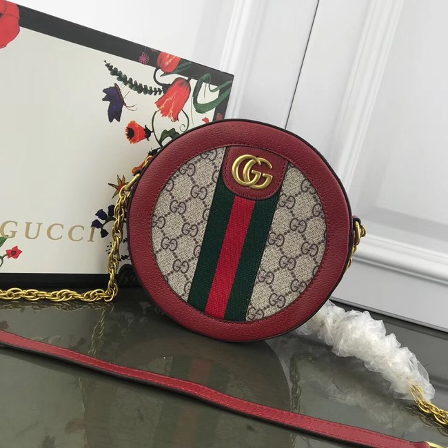 Gucci Ophidia mini GG round shoulder bag 171285 red