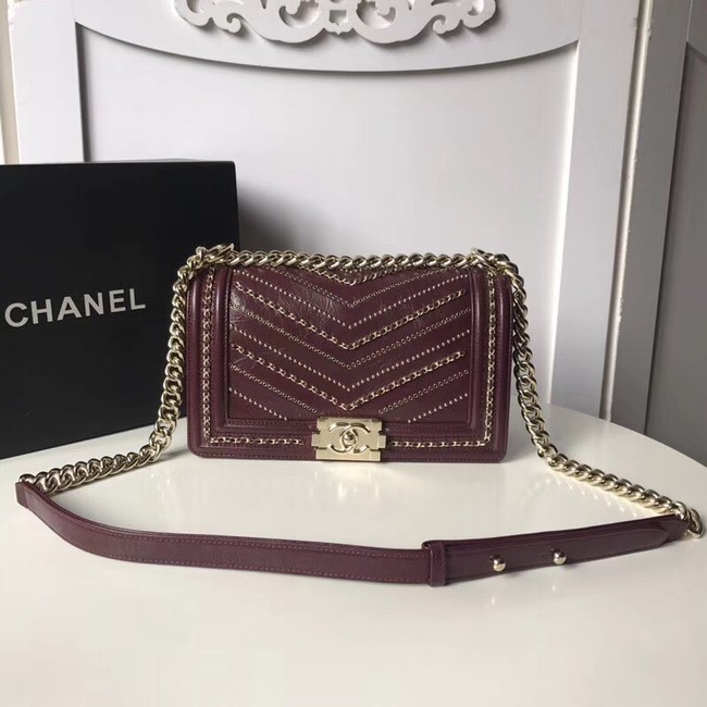 BOY CHANEL Handbag Crumpled Calfskin & Gold-Tone Metal A67086 Burgundy